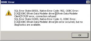 ERwin ODBC Error